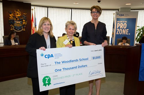 Carol Wilding, CPA Ontario President and CEO and Vicki Liederman, Director, Student Recruitment present the Woodlands School with an award.