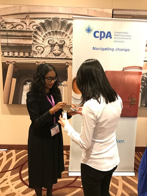 High school students visit with CPA Ontario representatives at DECA Provincials 2017.